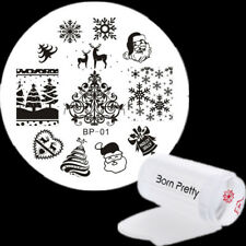 3Pcs Nail Stamping Plates Christmas Silicone Stamper Scraper Kit Born Pretty