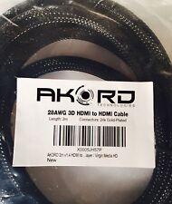 Akord Technologies 28AWG 3D HDMI 24 K oro bersagliato Cavo 2m NUOVO