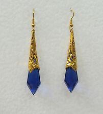 BEAUTIFUL LONG BLUE GLASS ART DECO STYLE EARRINGS GOLD PLATED FILIGREE DL hook