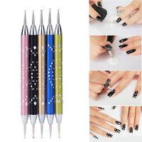 5Pcs Luxury 2-Way Nail Art Dotting Pens Aluminum Marbleizing Painting Dot Tools