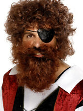 Brown Pirate Beard Curly Mens Pirates Fancy Dress Outfit Facial Hair