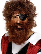 Marrone Pirata BARBA RICCIA UOMO PIRATI Fancy Dress Outfit peli facciali