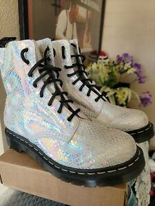 Dr Martens 1460 Pascal 8 Eye Snake Metallic Boots Women's Size  9  Without Box