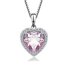 Lady Heart Necklace 18K White GP Sapphire Austrian Crystal CZ Pendant Chain Gift