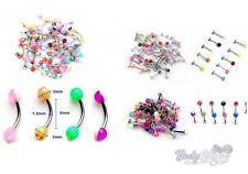 50 x Mixed Lot Curved Eyebrow Bars Labret Bars Lip Studs Ball Tragus Ear Rings