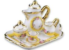 Dollhouse Coffee Set for 1 with Tray Reutter 1.649/5 Tea French Rose Miniature