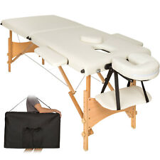 mobile Massageliege Massagetisch Massagebank 2 Zonen Klappbar beige B-ware
