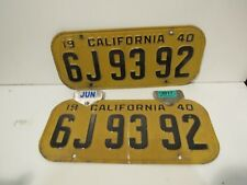 Yellow and Black California License set, pair Plates Embossed Metal DMV Cleared