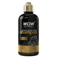 WOW Activated Charcoal & Keratin Shampoo - Scalp Detox Cleanse -16 fl oz