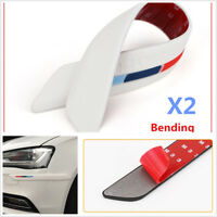 2X White Auto Rear Bumper Guard Edge Rubber Protector Strip Trim Stickers