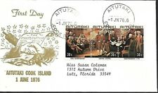 AITUTAKI COOK ISLANDS 1976 FDC DECLARATION OF INDEPENDENCE AMERICAN BICENTENNIAL