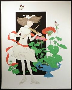 """Philippe Noyer """"Symphony to a Geranium"""" Hand Signed Serigraph Art 1980s OBO"""