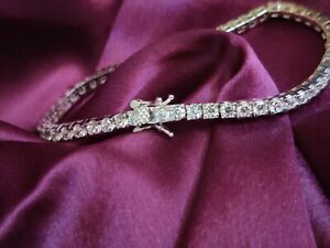 14k White Gold Over 5ct Diamond Solitaire Wedding Special Gift Tennis Bracelet