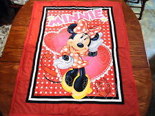 MINNIE MOUSE HART'S AND DOTS AND DAISY 36 X 44 HANDMADE BABY QUILT
