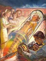 PAINTING VINTAGE SCI FI WOMAN SCIENTIST SPACE AGE INVENTION 1939 POSTER CC3552