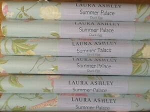 Price per roll Laura Ashley Summer Palace Duck Egg Wallpaper NEW Birds Blue
