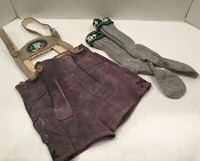 "Vintage Youth Boy's Lederhosen Gray Suede 22"" Waist Made Germany With Socks"