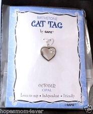 Nip Ganz Birthstone Cat Tag Charm Heart w/ Paw Shape Stones Oct/White *Bogo 50%