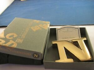 Brass Initial N   Paperweight by Stuart  Houghton UK  Boxed