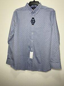 Original Penguin Dobby Long Sleeve Blue Button Front Dress Shirt Mens 17 34/35