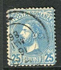 ROMANIA;  1880 early Prince Carol issue fine used 25b. value, fair Postmark