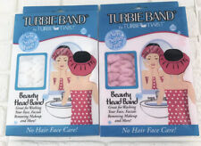 Turbie Band by Turbie Twist (Lot of 2) Softer Feel Beauty Head Band White Pink
