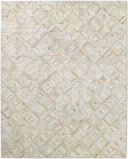 Restoration Hardware Diamond Ivory Cowhide Rug Handmade 5x7  $$$ $2495 MSRP $$$