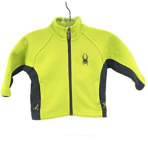 Spyder Kids Full Zip Lime Green Black Fleece Lined Core Sweater Size 2