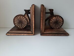 Wooden Bicycle Book Ends Home Decor Rustic Charm 15cm x 15cm x 11cm Each