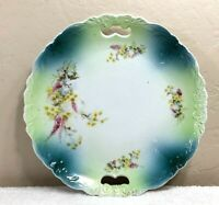 Antique Porcelain Green/Turquoise w/flowers handles plate