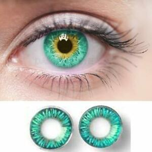 Green Color Contact lens Kit Zero Power Free Lens Solution for Sexy eye party
