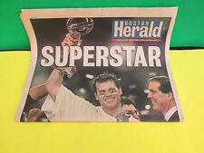 NEW ENGLAND PATRIOTS- TOM BRADY-SUPERSTAR- BOSTON HERALD 2/3/2004 NEWSPAPER- NEW