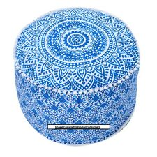 Ottoman Round Seat Cover Ombre Mandala Cotton Pouf Handmade Home Decor Stool