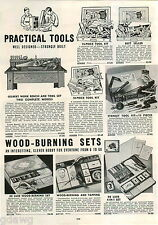 1942 ADVERT Gilbert Toy Tool Sets Stanley Work Bench Wood Burning Sets