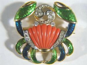 De NICOLA Enamel Faux Coral Pave Rhinestone Cancer the Crab BROOCH Pin