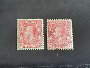 Turks and Caicos Islands GVI 1928 2s Red on Emerald MM & VFU stamps SG184