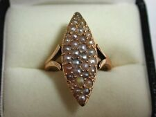 Beautiful Antique Gold Ring, Large Setting With Various Coloured Seed Pearls