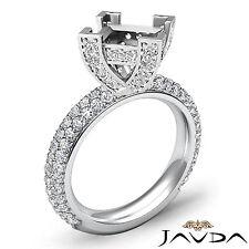 Diamond Anniversary Micro Pave Ring 1.45Ct 18k White Gold Princess Semi Mount