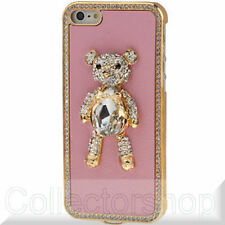 3D Little Bear Pattern Style Diamond Series (Skin + Plating Frame) Case Pink