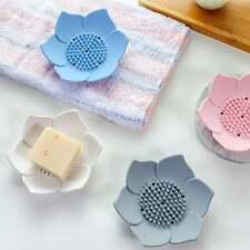 Soap Dish With Drain Bpa Free Lotus Shape Silicone Sponge Holder