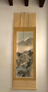 Pair Of Large 1960s Chinese Scroll Watercolours Signed Sealed & Boxed