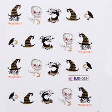 Halloween Nail Art Water Decals Transfers Witch Trick or Treat Skull (BJC39)