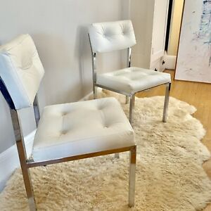 Virtue Brothers Vintage White Padded Chrome Chairs Chair Set MCM