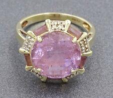 14ct Yellow Gold Amethyst & Diamond Ladies Ring