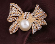 Faux Pearl & Diamante Rhinestone Crystal Sparkly Bow Gold Colour Brooch Pin