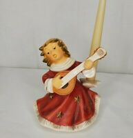 Goebel Weihnacht Christmas Angel Mandolin Musician Red Dress Stars Candle Holder