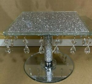 luxury Square Crushed Diamond Cake Stand Fruit Plate Tier Crystal Wedding 25cm
