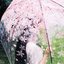 Cherry Blossom Transparent Clear Rain Umbrella Women's Auto Parasol Umbrellas