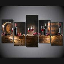 Modern Abstract Oil Painting Wall Decor Art Huge -  5 panel large casks wine