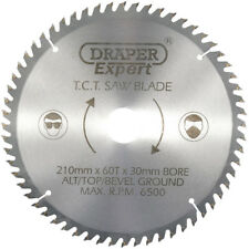 Draper Expert Circular Saw Blade 210mm 30mm Bore 60T 16mm Ring Chop Mitre 09478